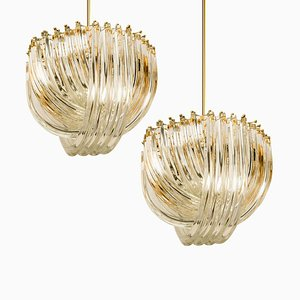 Curved Crystal Glass and Gilt Brass Pendants from Venini, Set of 2