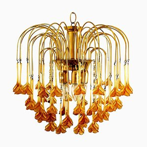 Venini Style Chandelier with Murano Burned Orange Glass Flowers