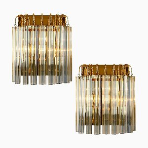 Venini Style Murano Glass and Gilt Brass Sconces with Grey Stripe, Set of 2
