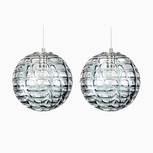 Grey Murano Glass Pendant Lights in the style of Venini, 1960s, Set of 2