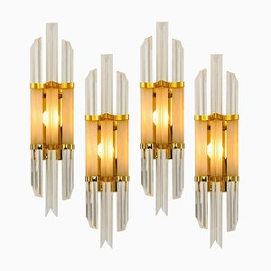 Venini Style Murano Glass and Brass Sconce
