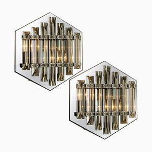 Large Venini Style Glass Sconces with Triedi Crystals, 1969, Set of 2
