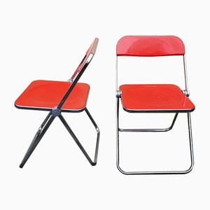 Italian Space Age Red Plias Folding Chairs by Giancarlo Piretti for Castelli, 1960s, Set of 2