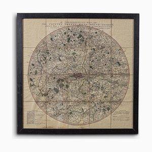 Framed Map of London, 1800s