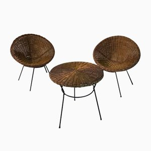 Wicker Garden Table & Chairs, Set of 3