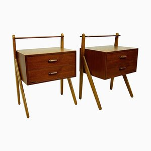 Scandinavian Teak Nightstands by Sigfred Omann for Olholm, Set of 2