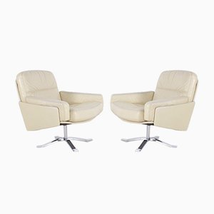Leather Swivel Chairs, Set of 2