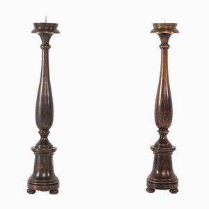 Bronze Steel Candleholders, Set of 2