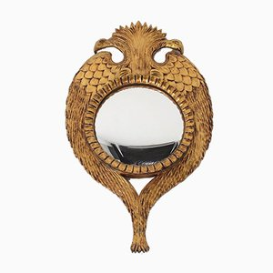 Convex Gilded Carved Wood Mirror with Two-Headed Eagle