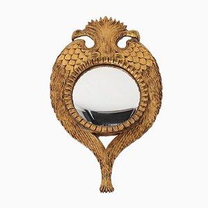 Convex Vergoldeter Spiegel mit geschnitztem Holzrahmen und Adler mit Zwei Leuchten