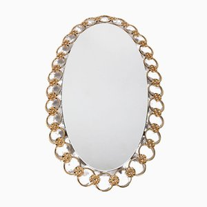 Hollywood Regency Oval Gilt Mirror