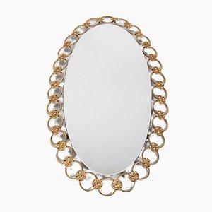 Hollywood Regency Oval Gilt Mirror