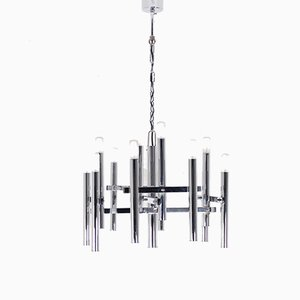 Chrome Chandelier by Gaetano Sciolari