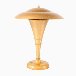 Goldfarbene Art Deco Lampe aus Aluminium