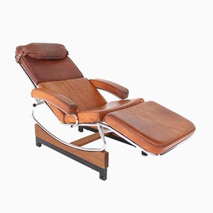 Cognac Leather Chaise Lounge