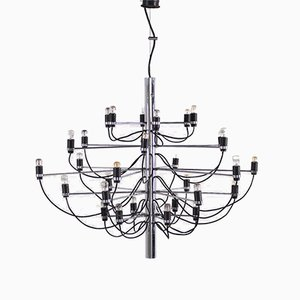 Chrome and Steel 2097/30 Chandelier by Gino Sarfatti for Arteluce, 1958