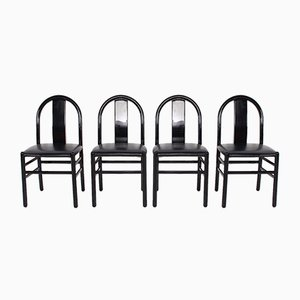 Italian Black Lacquered Chairs, 1970s, Set of 4