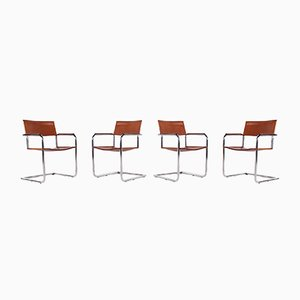 Cantilever Cognac Leather Chairs by Matteo Grassi, Set of 4