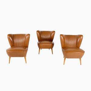 Cocktail Faux Caramel Leather Armchairs, 1960s