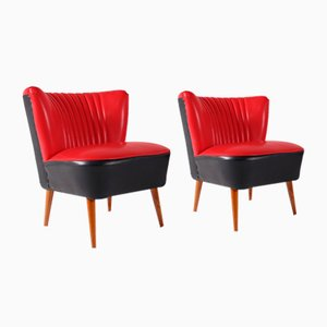 Cocktail Chairs in Faux Red Leather, 1960s, Set of 2