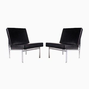 Leather Lounge Chairs, Set of 2