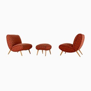 Easy Chair and Ottoman by Norman Bel Geddes, 1950s, Set of 2