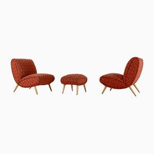 Sessel und Fußhocker von Norman Bel Geddes, 1950er, 2er Set