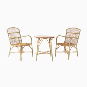 Bamboo / Rattan Armchairs and Table in Belle Epoque Style, Set of 3