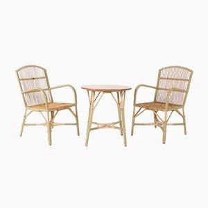 Poltrone in bambù e vimini in stile Belle Epoque, set di 3