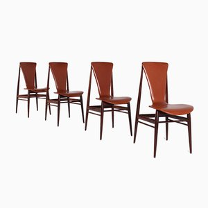 Scandinavian Leather Cognac and Rosewood Chairs, 1970s, Set of 4