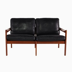 2-Seater Leather Bench by Illum Wikkelso, 1960s