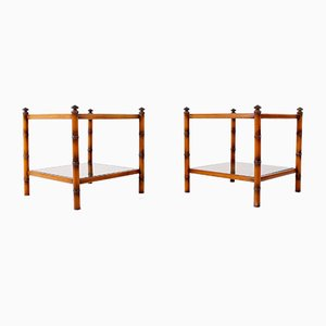 Caned Bamboo and Brass End Tables, 1970s, Set of 2