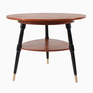 Tripod Pedestal Table in Teak and Black Lacquered Beech