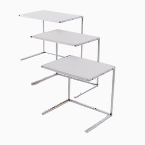 Chromed Steel Nesting Tables, Set of 3