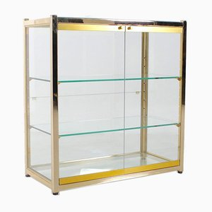 Small Showcase with 2 Doors in Brass, 1970s