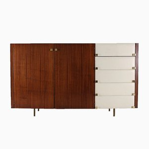 High Sideboard in Rosewood and Brass by Roger Landault