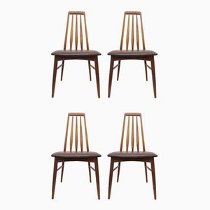 Teak & Leather Eva Dining Chairs by Niels Koefoed for Koefoeds Hornslet, 1960s, Set of 4