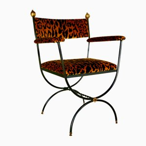 Silk Velvet Curule Armchair, 1960s