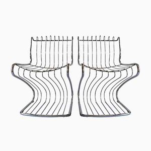 Sculptural Side Chairs, 1970s, Set of 2