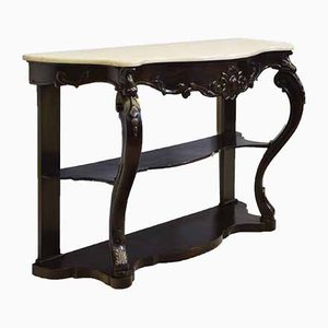 Antique Italian Provincial Mahogany & Marble Console Table