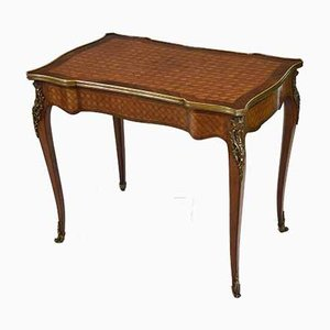 French Kingwood Parquetry & Gilt Metal Serpentine Side Table with Drawer, 1910s