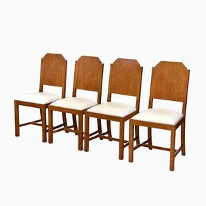 Art Deco Oak and Leather Dining Chairs, Set of 4