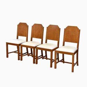 Chaises de Salon Art Déco en Chêne et en Cuir, Set de 4