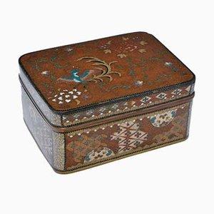 Large Antique Japanese Cloisonné Enamel Box & Cover in the Style of Namikawa Yasuyuki