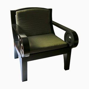 Sculptural Black Wood Lounge Chair from Jean Van Hamme, 1980s