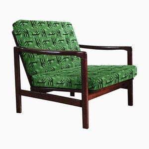 Green Jacquard B-7752 Armchair by Zenon Bączyk for Swarzędzkie Fabryki Mebli, 1960s