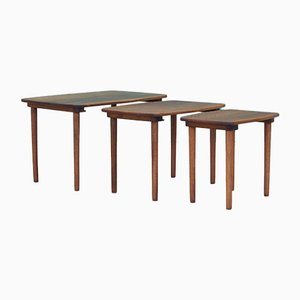 Danish Walnut Coffee Tables, 1960s, Set of 3