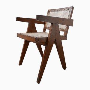 Chaise de Bureau en Teck et Canne par Pierre Jeanneret, 1956