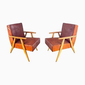 Leather Armchairs by Bernardo Bernardi for the Central Committee of Communist Croatia, 1960s, Set of 2