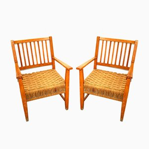 Italian Wood & Cord Lounge Chairs, 1940s, Set of 2